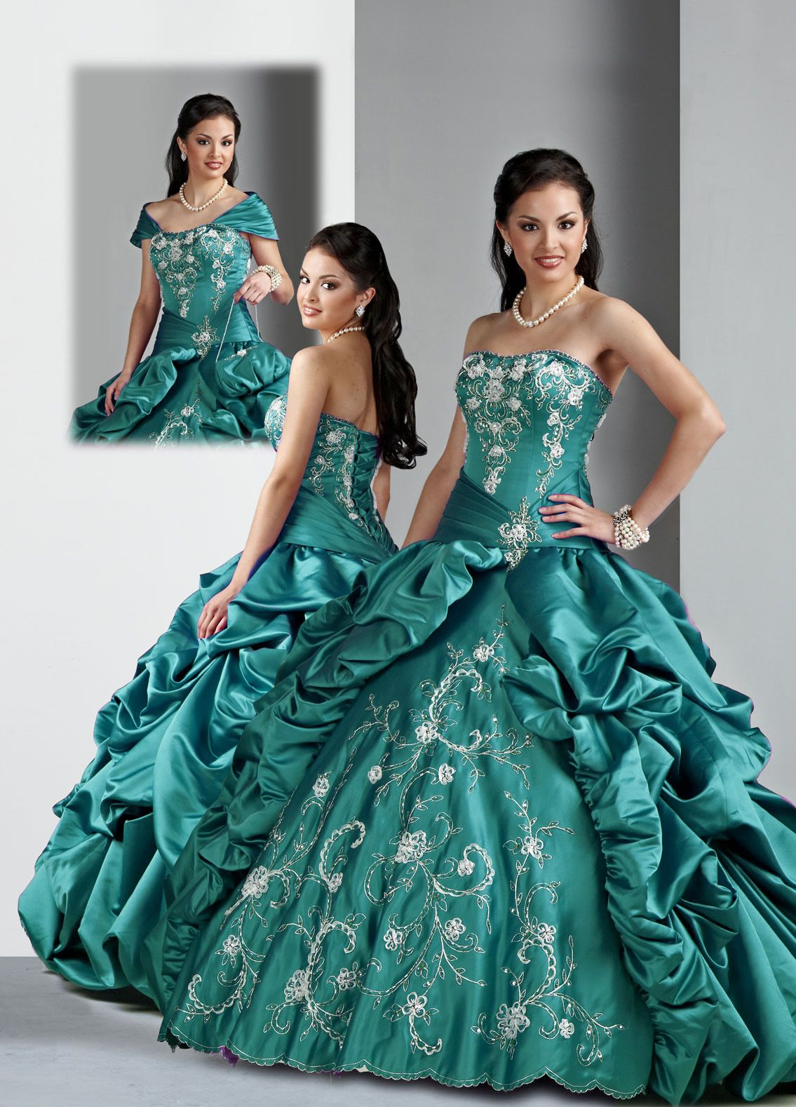 Turquoise,Brand New ball gown strapless floor length quinceanera ...