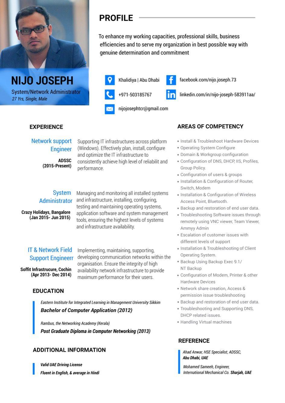 Resume design, System administrator. Resume design