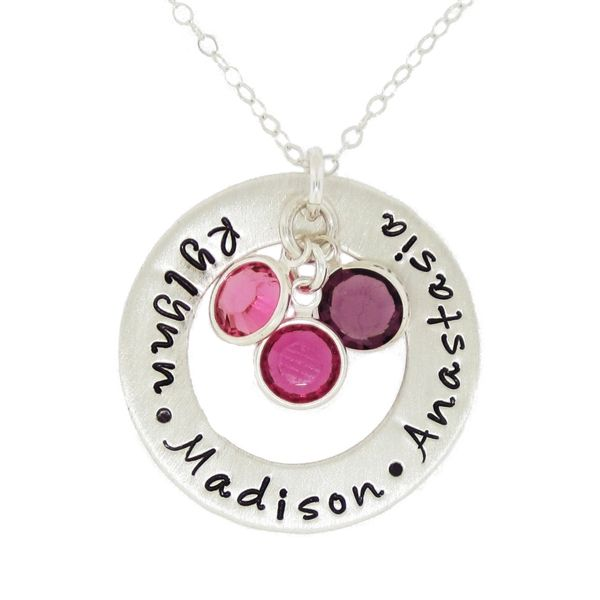 Circle of love with multiple birthstones great gift for a mother sterling silver washer necklace with birthstones personalized with names of loved ones with birthstones to match their birthdays aloadofball Gallery