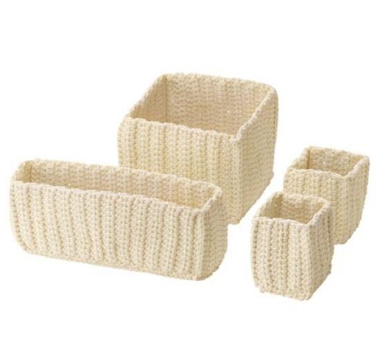 Ikea Nordrana Basket 4 Set Off White New Condo Bathroom