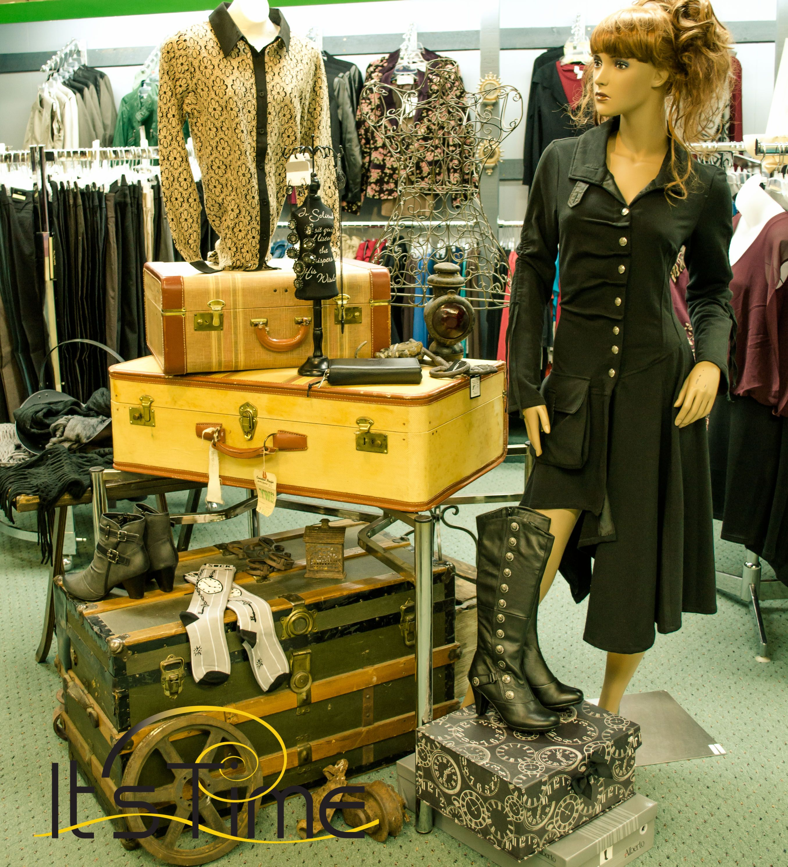 Visual merchandising steampunk booth inspiration for Retail store window display ideas