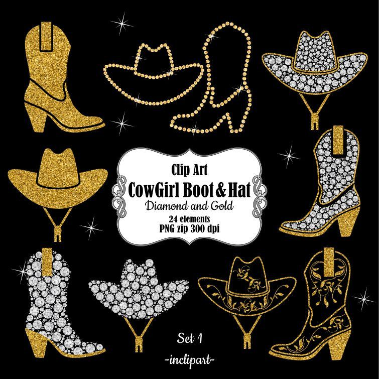 cowgirl boot clipart cowboy hat clipart digital diamond