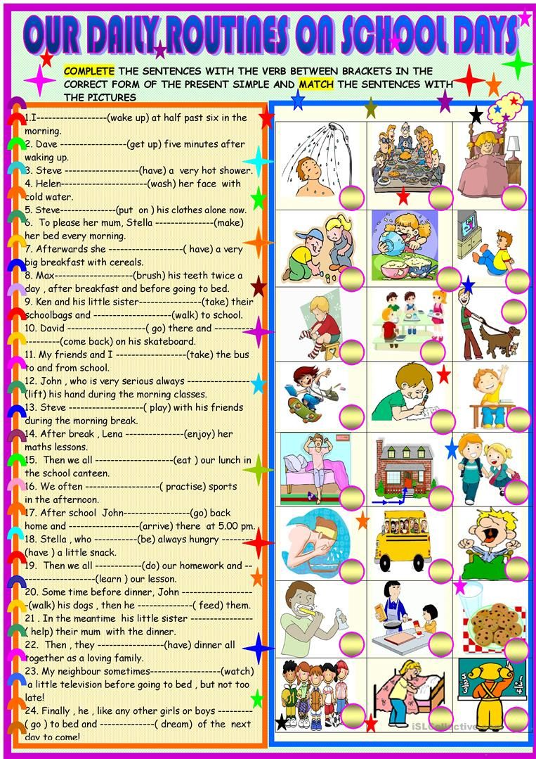 Daily Routines On Schooldays Worksheet Free Esl Printable Worksheets Made By Teachers Nepravilnye Glagoly Izuchat Francuzskij Anglijskaya Grammatika [ 1079 x 763 Pixel ]