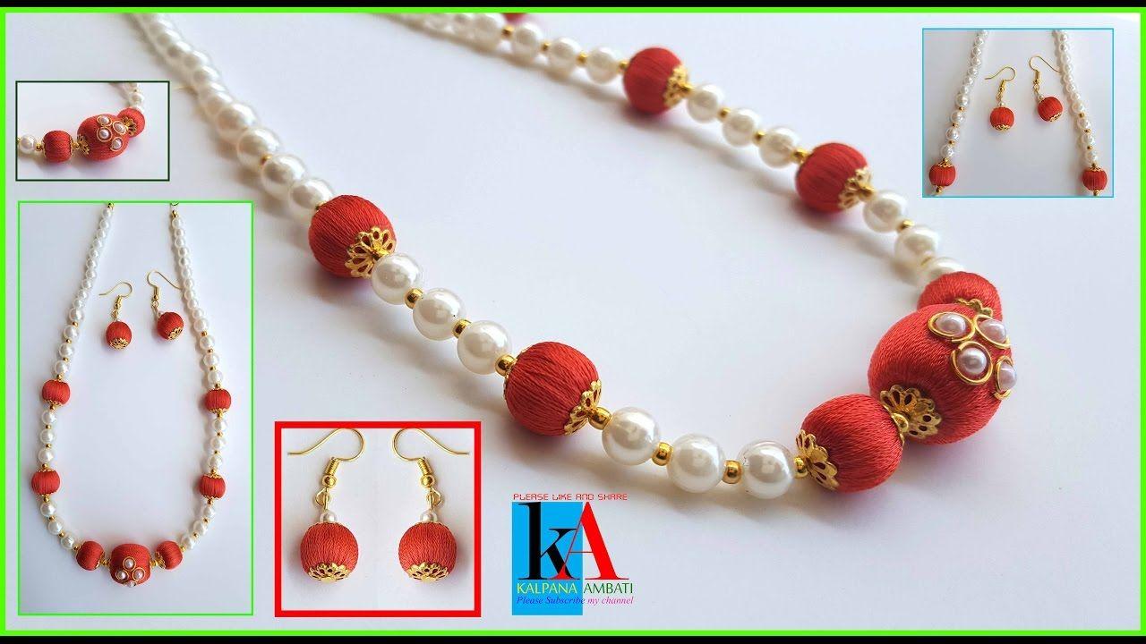 8 minutes Making Designer silk thread bridal necklace - beaded necklace ...