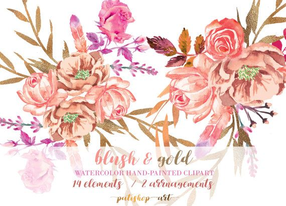 Blush Watercolor Flower Clipart Separate Elements Hand Painted Pink Flowers Bouquet Wedding Diy Clip Art Png Files Commercial Use S1