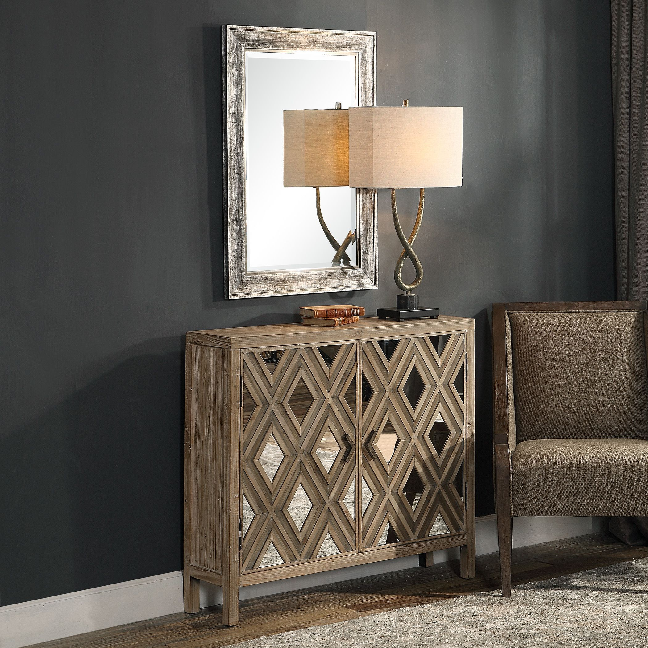 Best Tahira Contemporary Mirrored Accent Cabinet In 2020 400 x 300