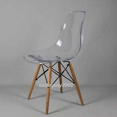 New Dsw Wooden Legs Eames Panton Ghost Style Dining Chair Clear Transparent Seat In Home Furniture Diy F Clear Chairs Transparent Chair Clear Dining Chairs