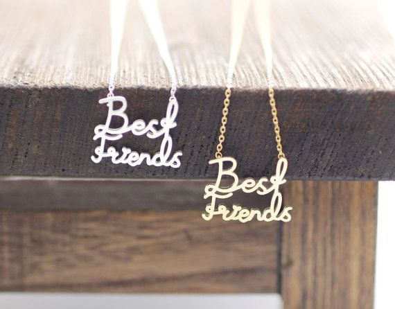 BEST FRIENDS Necklace in 2 colors gold / silver by zizibejewelry, $12.50