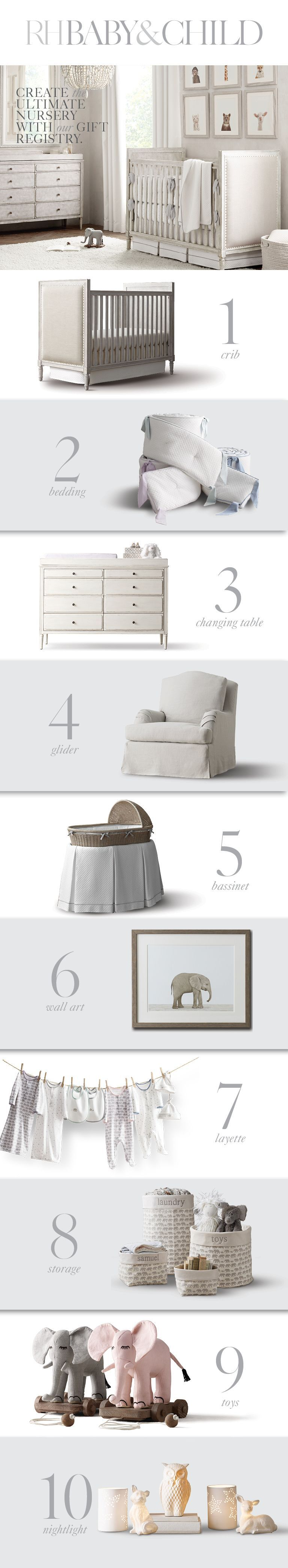 furnishings to accessories, bedding to decor, we've got everything you need to design your dream nursery. Create a registry with RH Baby & Child.