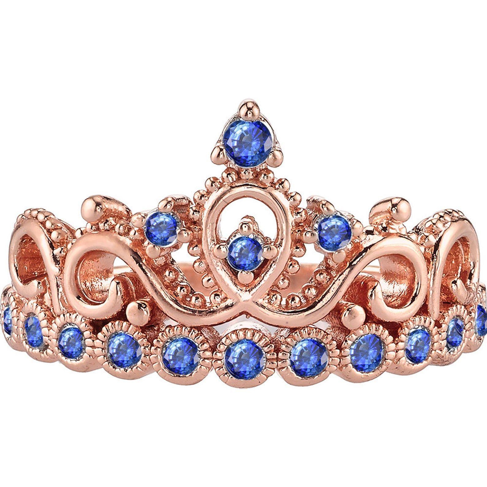 14K Rose Gold Gemstone Princess Crown Ring Etsy in 2020