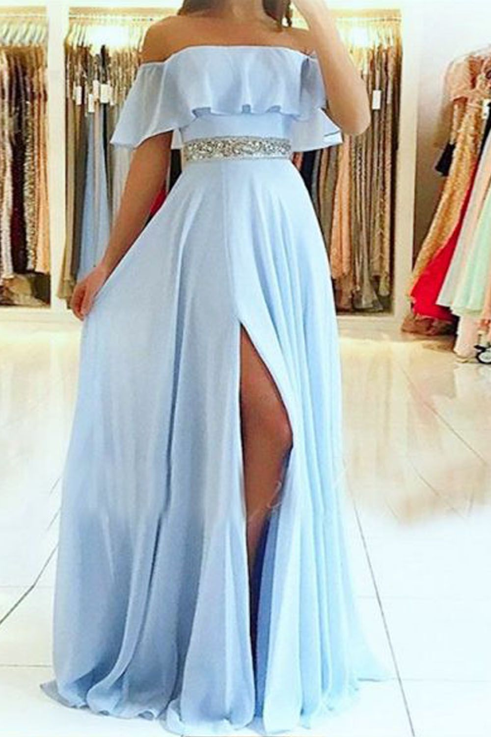 A Line Off The Shoulder Beaded Long Prom Dresses Formal Evening Dresses 601353 Split Prom Dresses Prom Dresses Long Long Prom Dresses Uk [ 1500 x 1000 Pixel ]