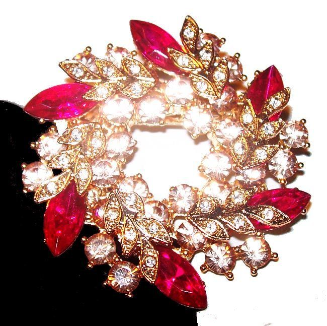 Pink Rhinestone Wreath Brooch Two Tiers Gold Leaf Top Holiday Festive Jewelry 2  Vintage is part of Pink rhinestones, Vintage rhinestone jewelry, Vintage rhinestone, Rhinestone, Brooch, Rhinestone jewelry - customs fees for other countries  Please be aware that there may be VAT, import or customs fees in your country  These fees are your responsibility, and we cannot be aware of the fees for every country  Please check with your local postal service  Thanks for looking and buy with confidence, i've been selling onine for over 18 years, and love vintage anything  Get this to add to your vintage collection, or to wear now  Have fun and Enjoy! Vintage equals used, some minor imperfections may be present and expected on very old jewelry  any major problems seen with the naked eye, I will describe to the best of my ability  I am not a jeweler or a gemologist, so my experience is my expertise  Any problems, I will work with you until your satisfied  Customer satisfaction is important to me