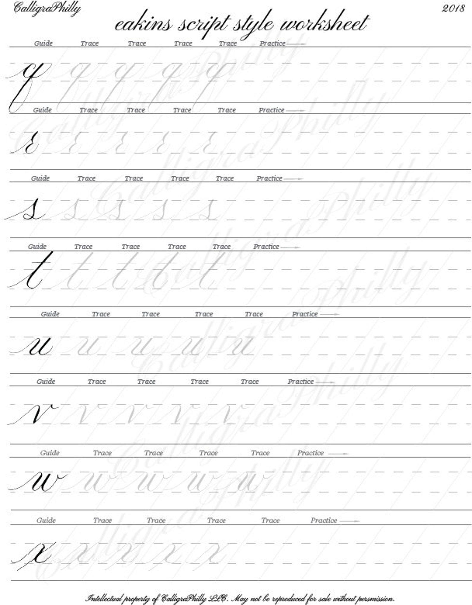 Beginner Level 1 Lowercase Calligraphy Alphabet Worksheet