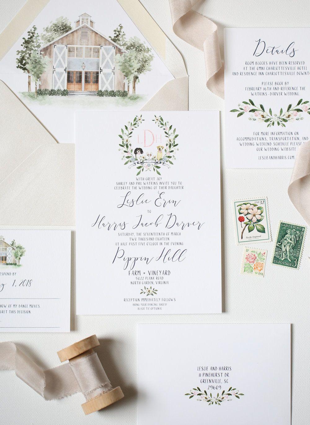 Custom Wedding Invitation Suite of Pippin Hill Farm by Emily Mayne ...