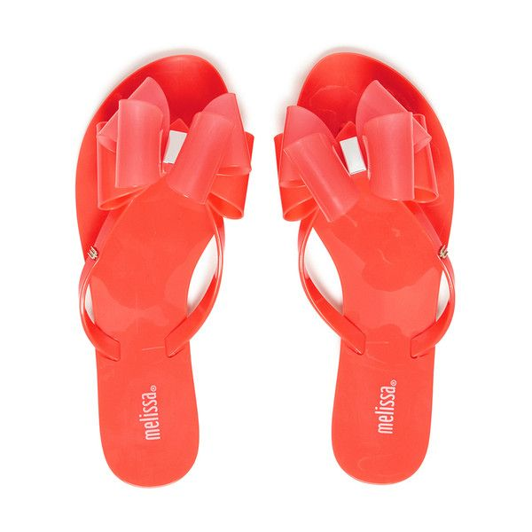 Melissa Women's Harmonic Twin Bow Flip Flops - Coral Pop ($72) ❤ liked on Polyvore featuring shoes, sandals, flip flops, pink, melissa shoes, pink sandals, bow sandals, flat sandals and slip on sandals