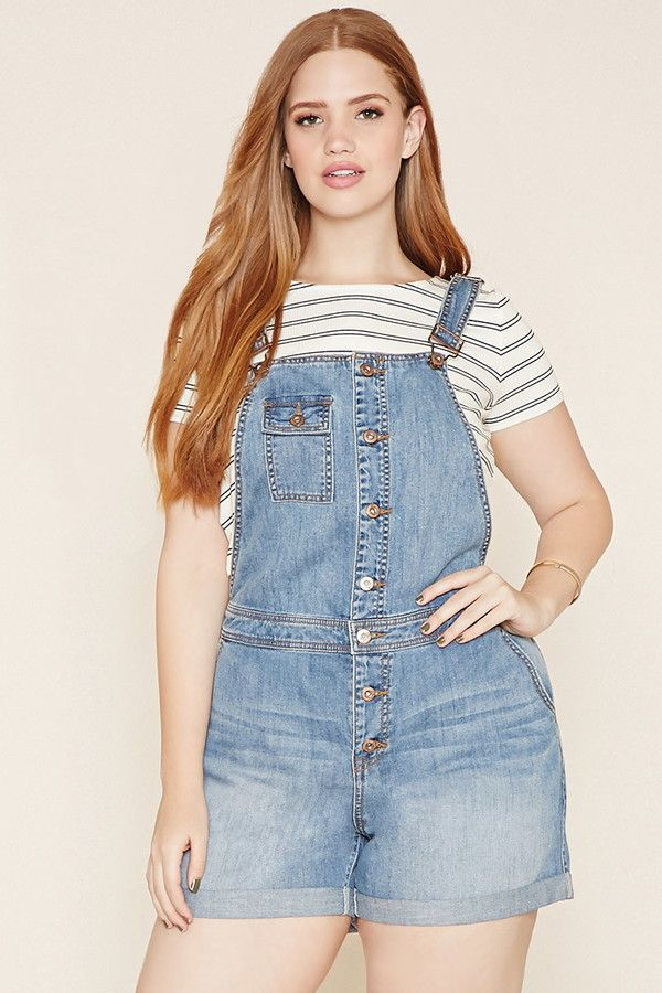 d6e82a7c6c8 FOREVER 21+ plus size denim overall shorts