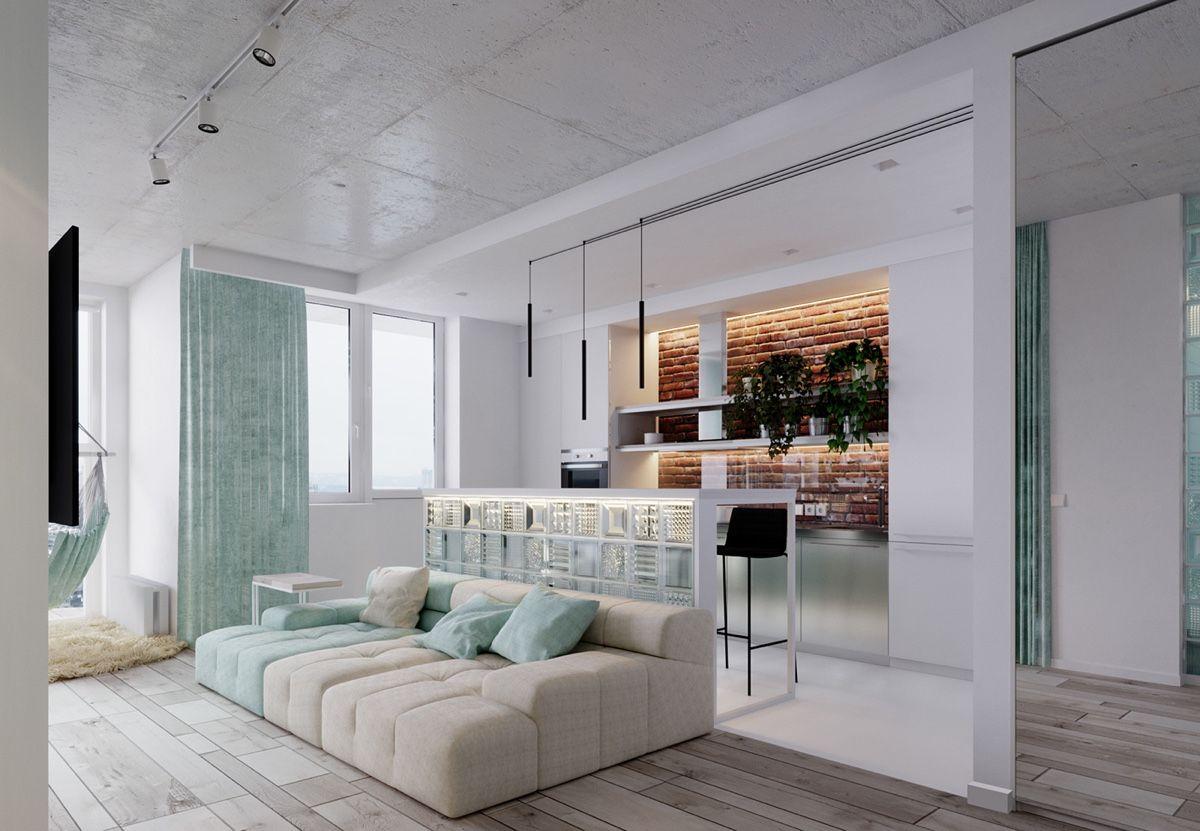 Unique Apartment Design Lied With Charming Style Decor And Light Mint Color Scheme