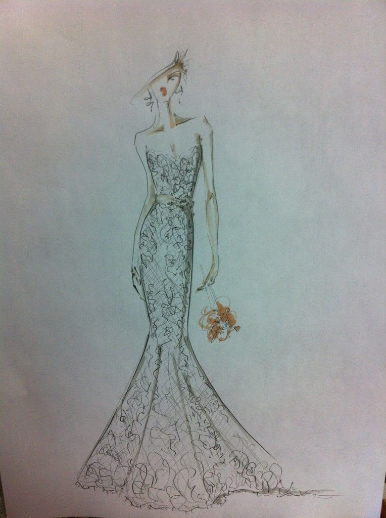 Sketch for Alvina Valenta wedding gown style #9102 by Jessica ...