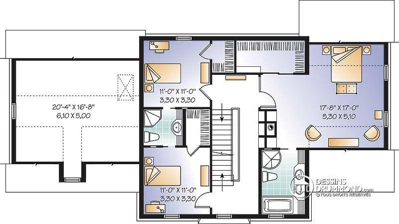 Détail du plan de Maison unifamiliale W3866 A faire réver - faire un plan maison
