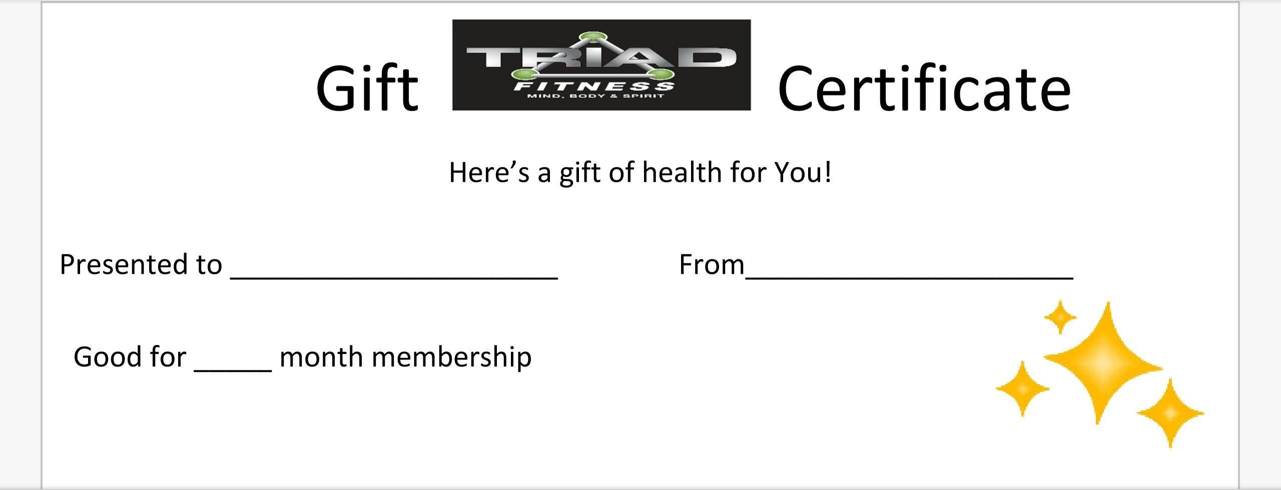 Personal Training Gift Certificate At Triad Fitness Personal