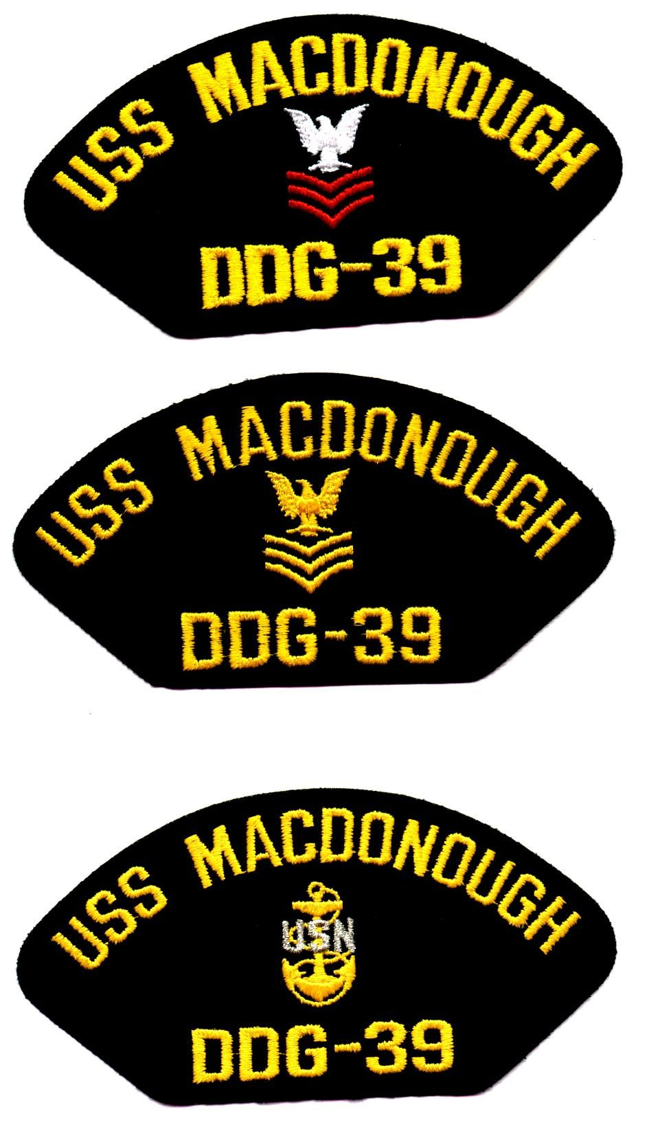 USS MacDONOUGH DDG-39 - 2 Original hat patches selling for $2.00 ea. including s & h by First Class Mail.  Contact ussforrestalcva59@gmail.com for larger quantity pricing.