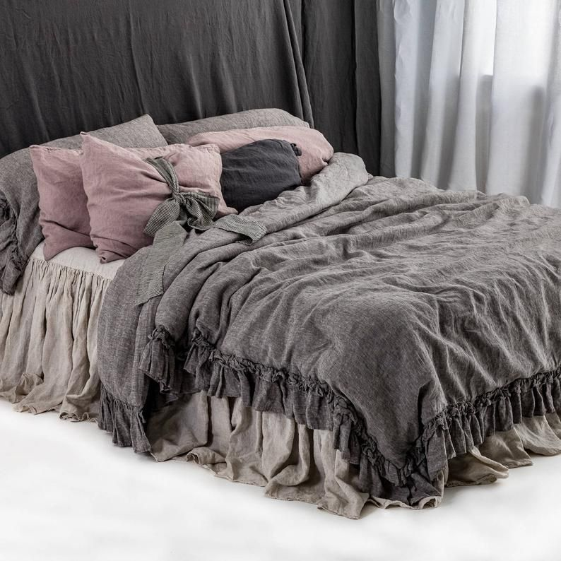Linen Duvet Cover Set Rustic Style, Flax Linen Bedding Manufacturers In India