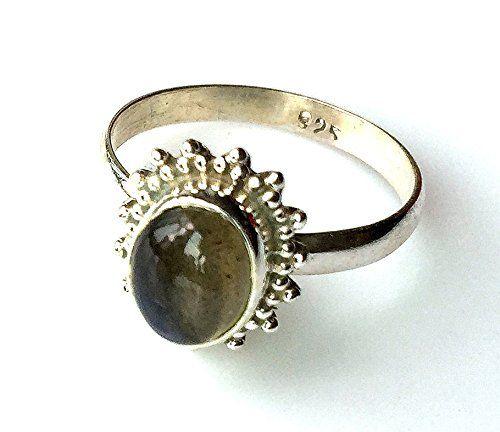 Shanya Sterling Silver Ethnic Ring Rainbow Moonstone nZVD4eK