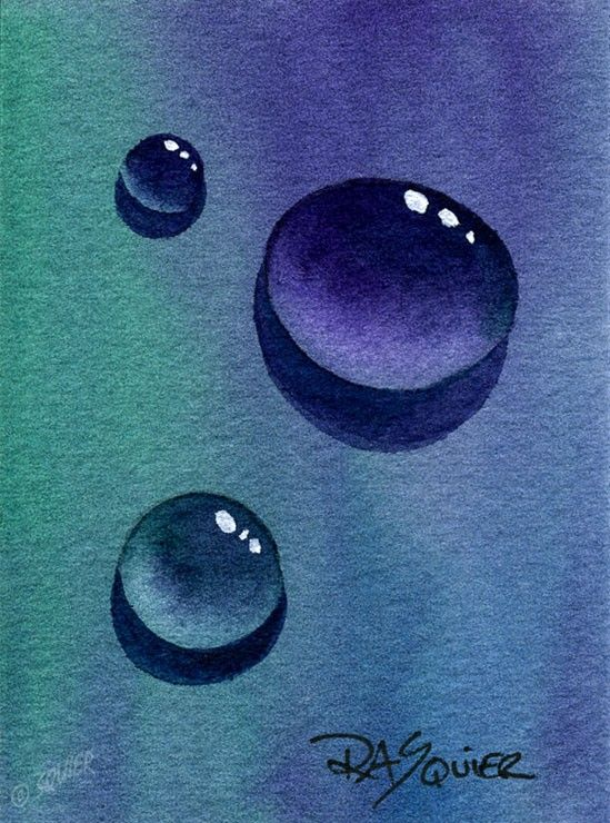 Water Drops Original Watercolor Painting Aceo By Rita Squier
