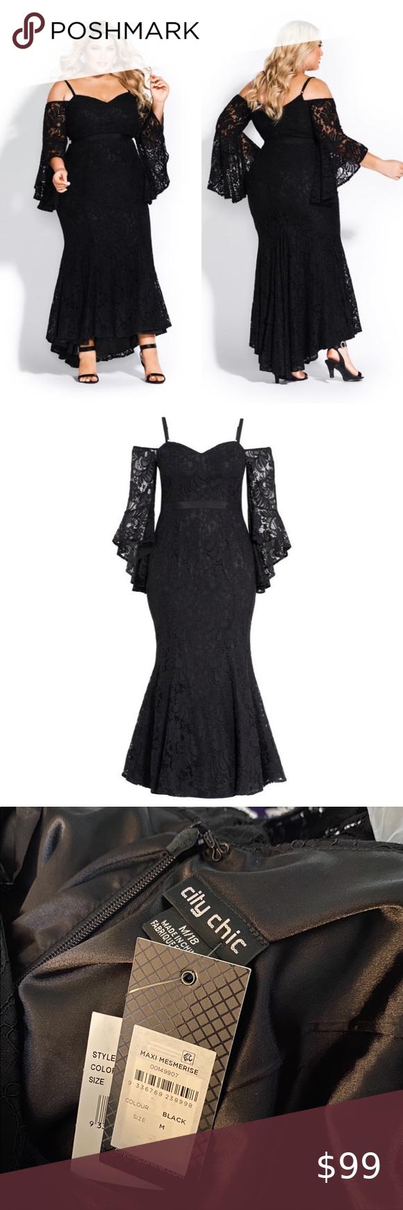 City Chic Mesmerize Maxi Dress Black Lace M 18 Lace Dress Black Black Maxi Dress Black Dress [ 1740 x 580 Pixel ]