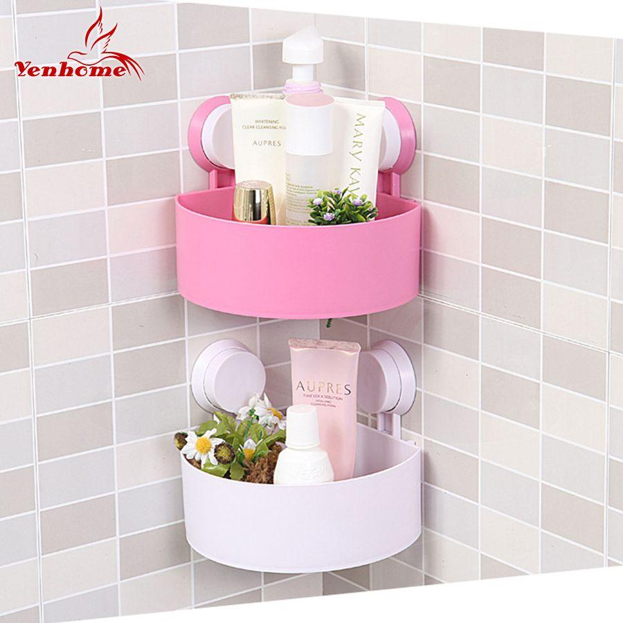 Wall Holder Bathroom Shower Shampoo Soap Cosmetic Storage Rack Organizer  Wall Shelf Suction Cup Corner Basket