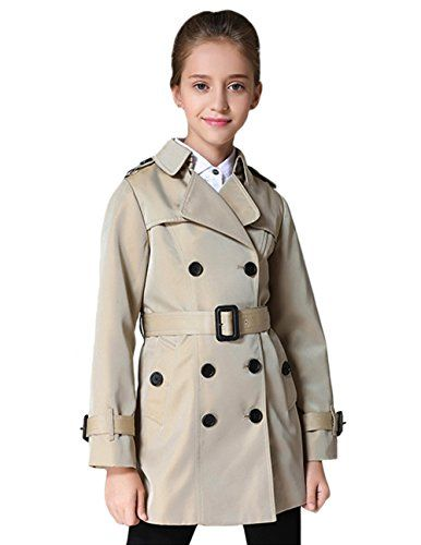 6effa30f7 Tortor 1Bacha Kid Girls  Double Breasted Trench Coat Jacket with ...
