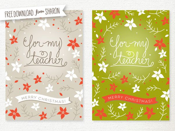 free printable teacher christmas card | Sweet Muffin Suite | DIY ...