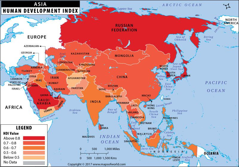 asia map showing the asian countries by human development index