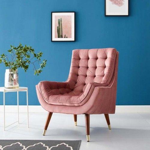 So Comfortable Tufted Dusty Rose Pink Velvet Lounge Chair | Velvet Lounge Chair, Mauve Living Room, Pink Velvet Chair