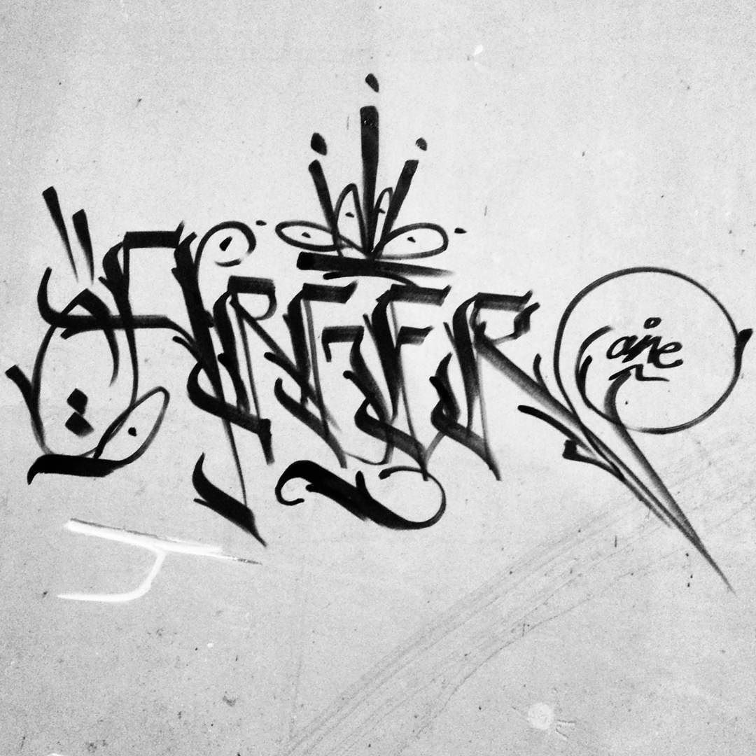 Arger karatgraphy calligraphy chisel attack