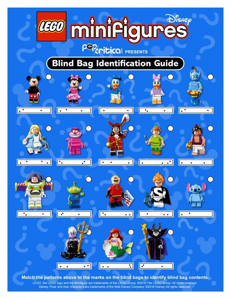 Identification Guide To Lego Disney Minifigure Blind Bag Codes Pop Critica Disney Lego Minifigures Lego Disney Disney Minifigures