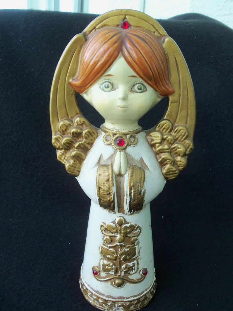 Tall Vintage Christmas Angel W Red Gem In Halo And Collar