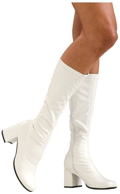 3ba304c4d13e Sexy White Go Go Boots (Large 9-10) Women s Costume Shoes 70s Disco 60s Mod