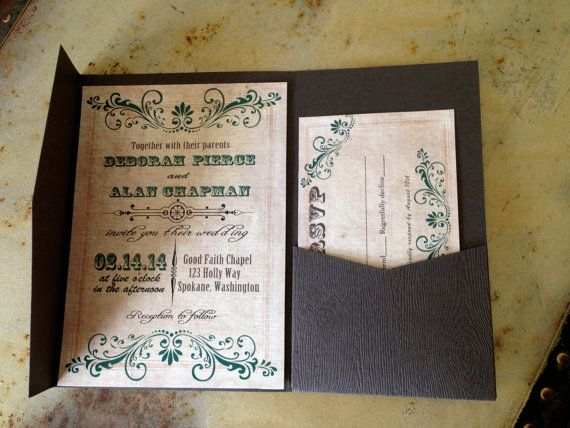 Textured Paper For Wedding Invitations: Woodgrain Texture Card Stock Pocketfold Wedding By