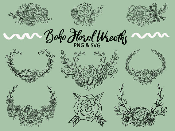 Photo of BOHO FLORAL WREATHS, hand drawn wreaths, doodle clipart, floral wreaths, rustic, drawn wreaths, PNG, SVG, vector wreaths, wedding