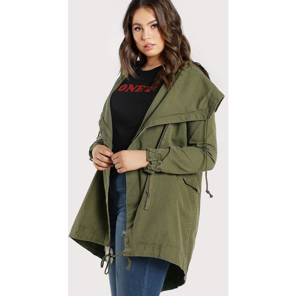 1c0faa62546 SheIn(sheinside) Oversized Hooded Cargo Jacket ( 40) ❤ liked on Polyvore  featuring plus size women s fashion