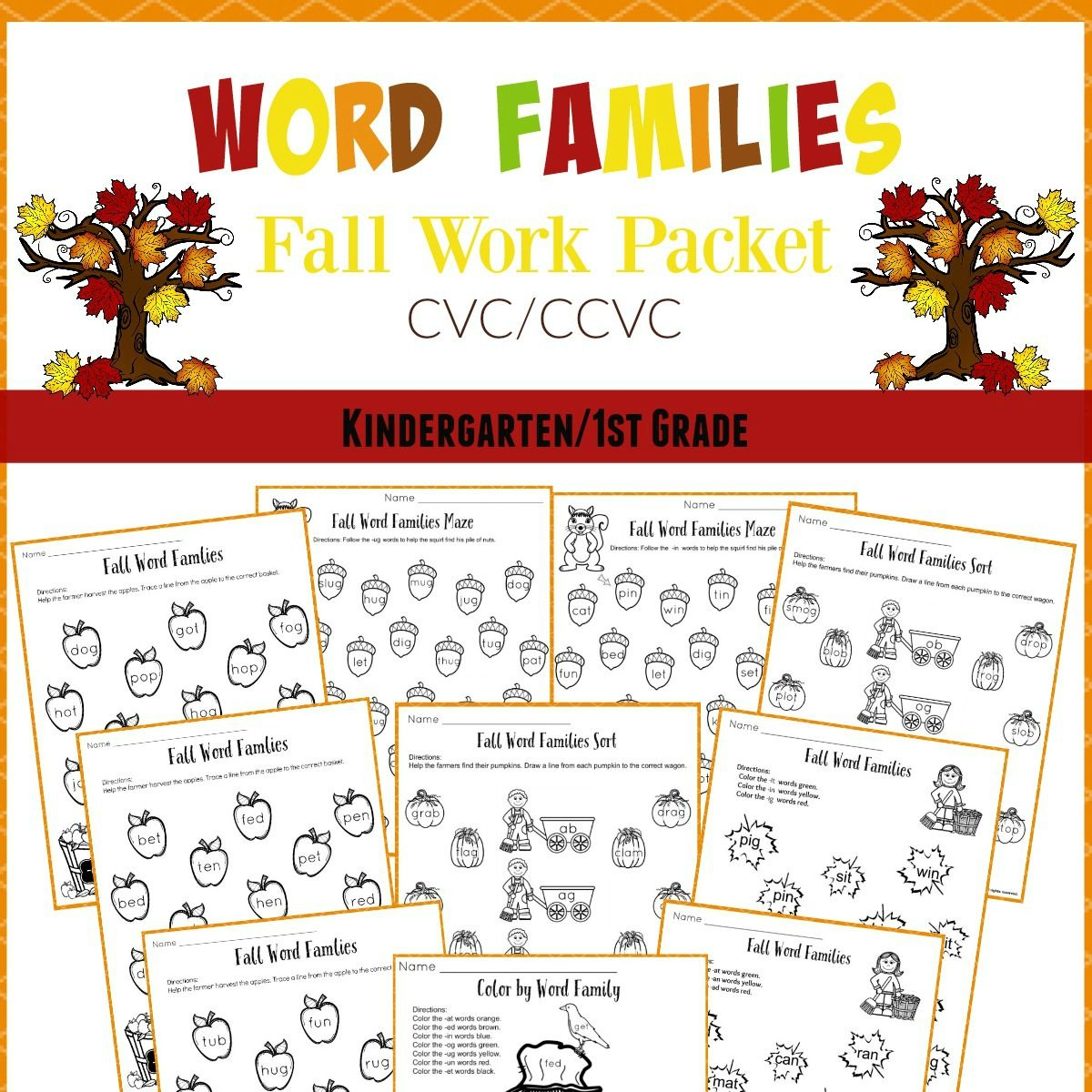 Fall Word Families Worksheets For Kindergarten Or 1st