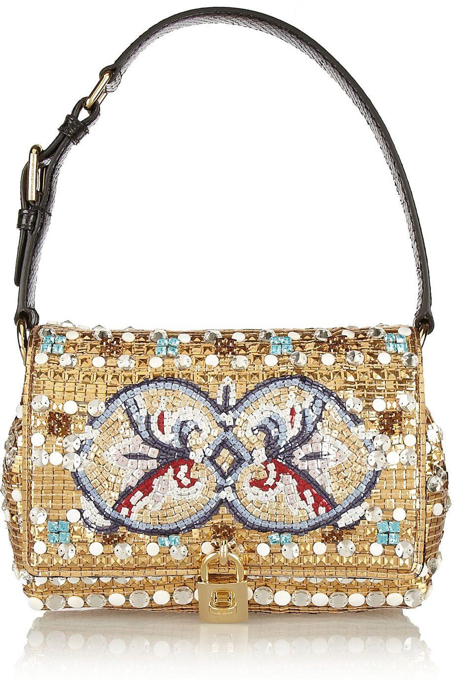 Dolce & Gabbana|Dolce medium ayers-trimmed embellished shoulder bag|NET-A-PORTER.COM
