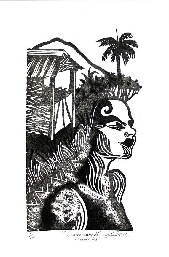Taino Art Puerto Rico Wall Art Linocut Print, Puerto Rican