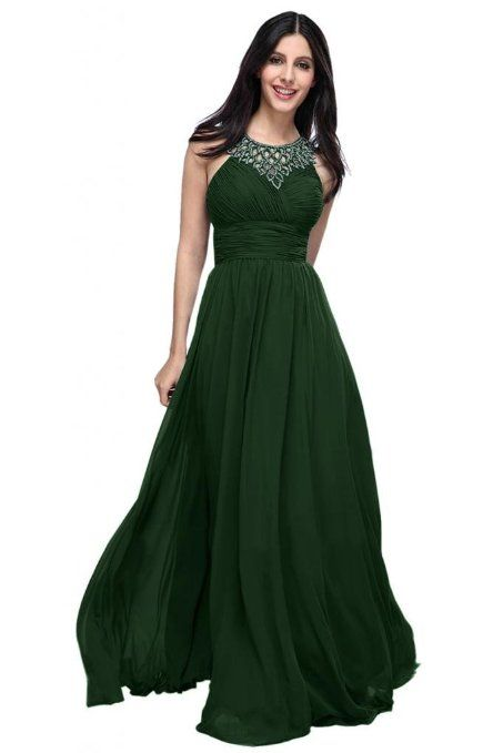 2fc9eb2515a Amazon.com  Emma Y Halter Hollow Chiffon Evening Party Dresses Long Formal  Gowns- US Size 14-Dark Green  Clothing