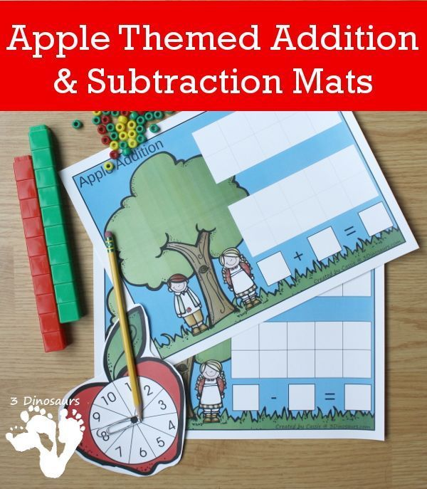 Apple Themed Addition & Subtraction Mats | Pinterest | Math and School