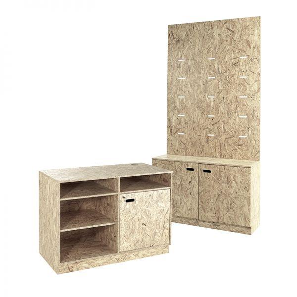 OSB Studio Range Cash Desk + Wall Cabinet Combo