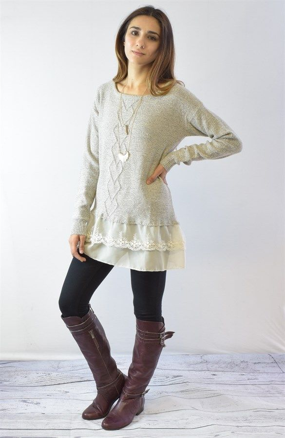 Lace Trim Cable Knit Sweater | Lace tunic, Small small and Tunics