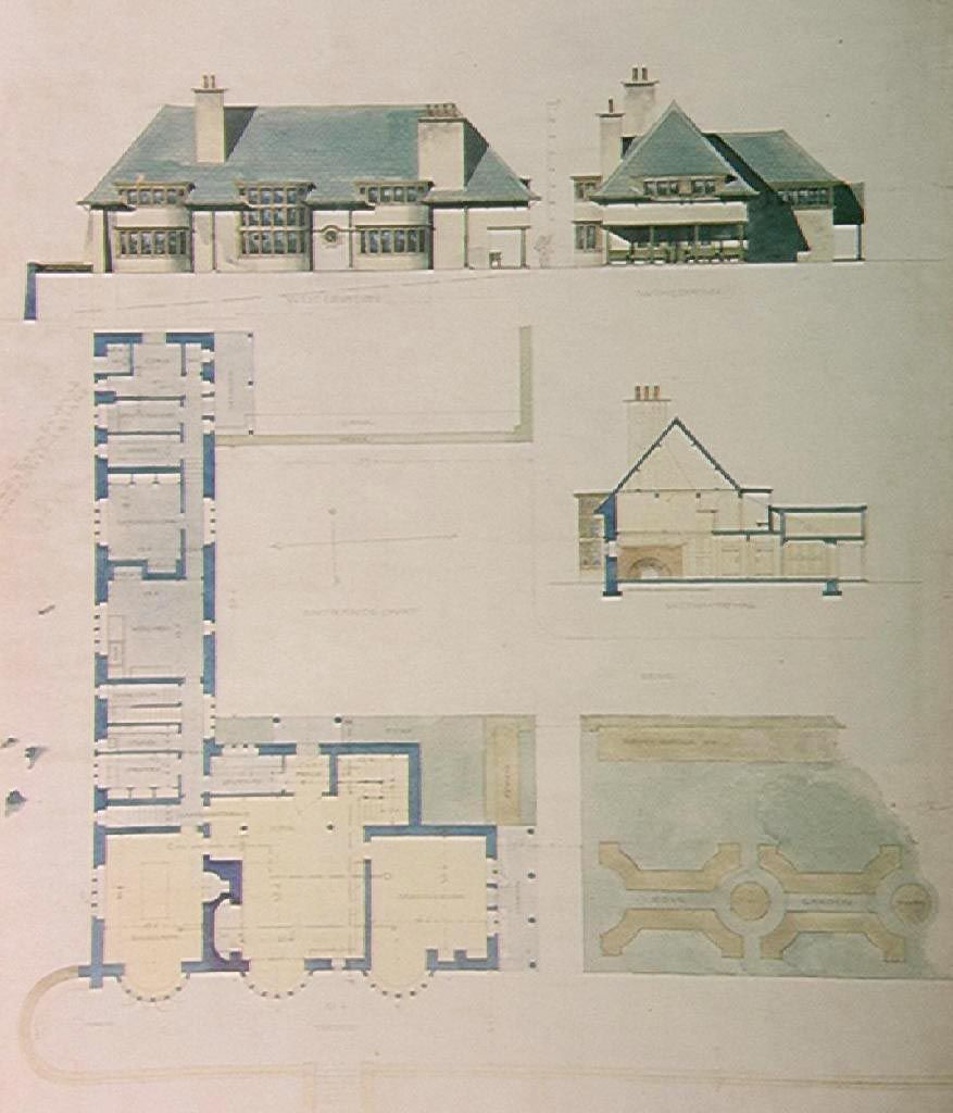 Voysey Orthographics Arts And Crafts House Architecture Presentation Architecture Drawing
