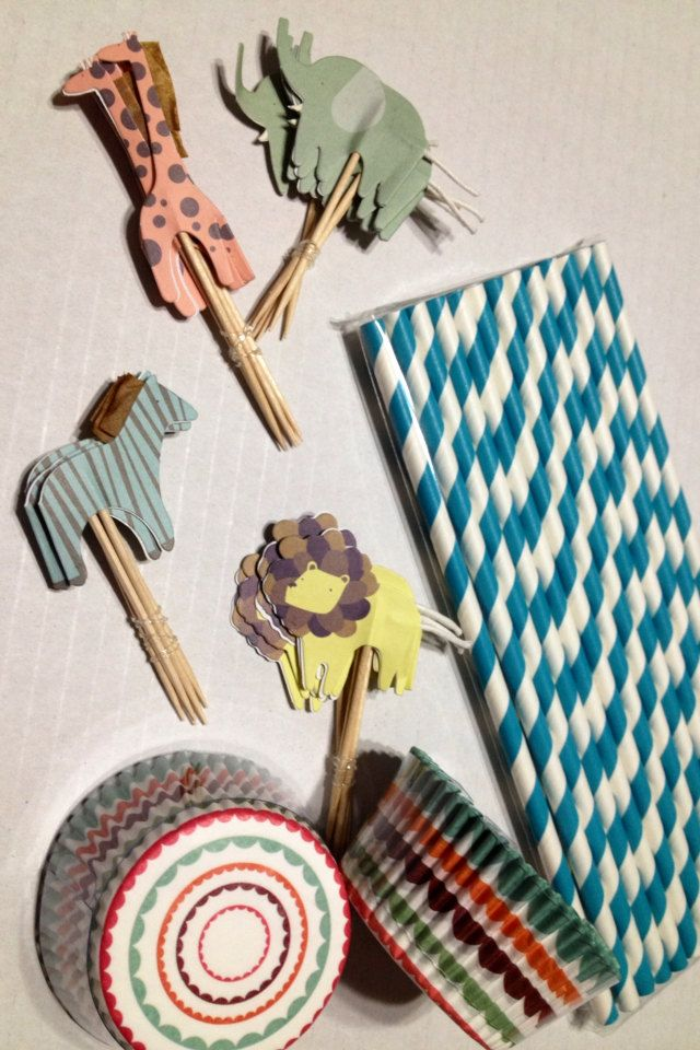 Safari Animal Jungle Party Pack Cupcake Paper Wrappers, Toppers and Paper Straws - Baby Shower Girl or Boy Birthday Party. $14.99, via Etsy.